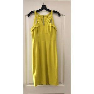 BCBG Yellow Fitted Midi Dress
